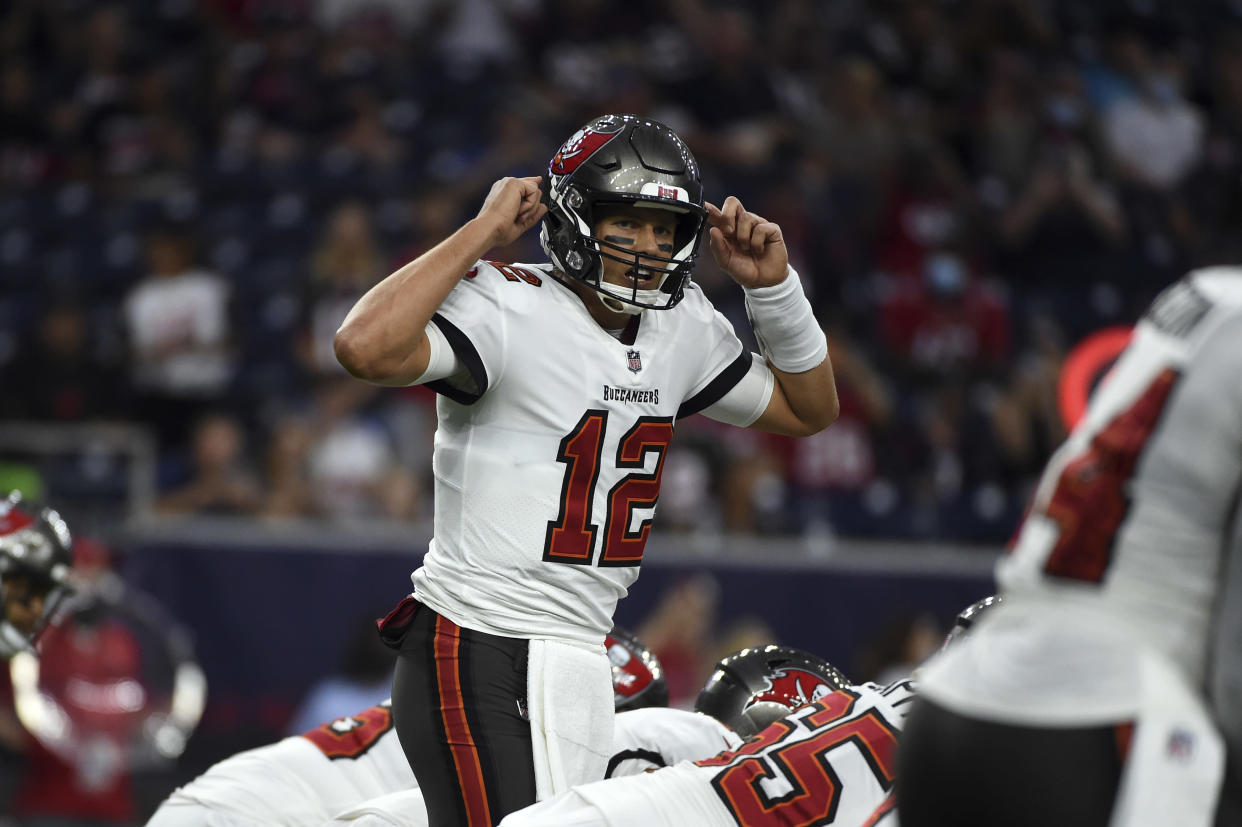 Tom Brady and the Buccaneers are big favorites in the season opener. (AP Photo/Eric Christian Smith)