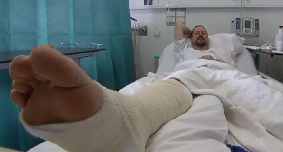 David Price was kite surfing on Wednesday when he crashed into a piece of driftwood on Eastern Victoria at high speed impaling his leg. Source: 7 News