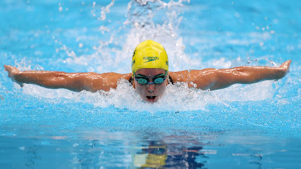 Emma McKeon, pictured here in heat five of the 100m butterfly at the Tokyo Olympics.