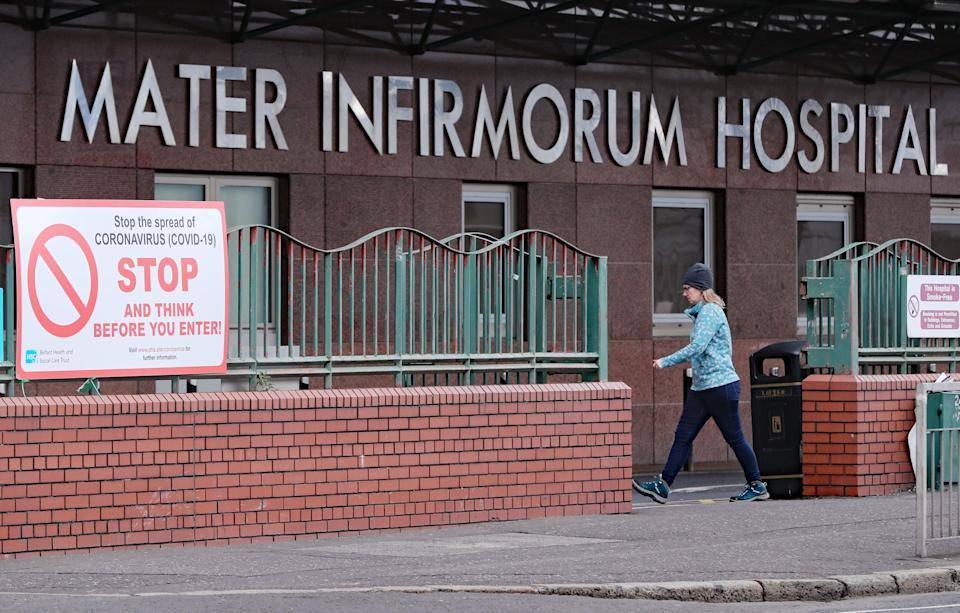 The Mater Hospital in Belfast is struggling to cope with the number of Covid-19 admissions (Niall Carson/PA) (PA Archive)