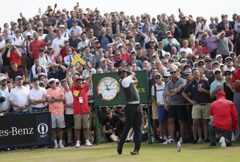 Tiger Woods of the US plays off the 9th tee during the third round of the British Open Golf Championship in Carnoustie, Scotland, Saturday July 21, 2018. (AP Photo/Peter Morrison)