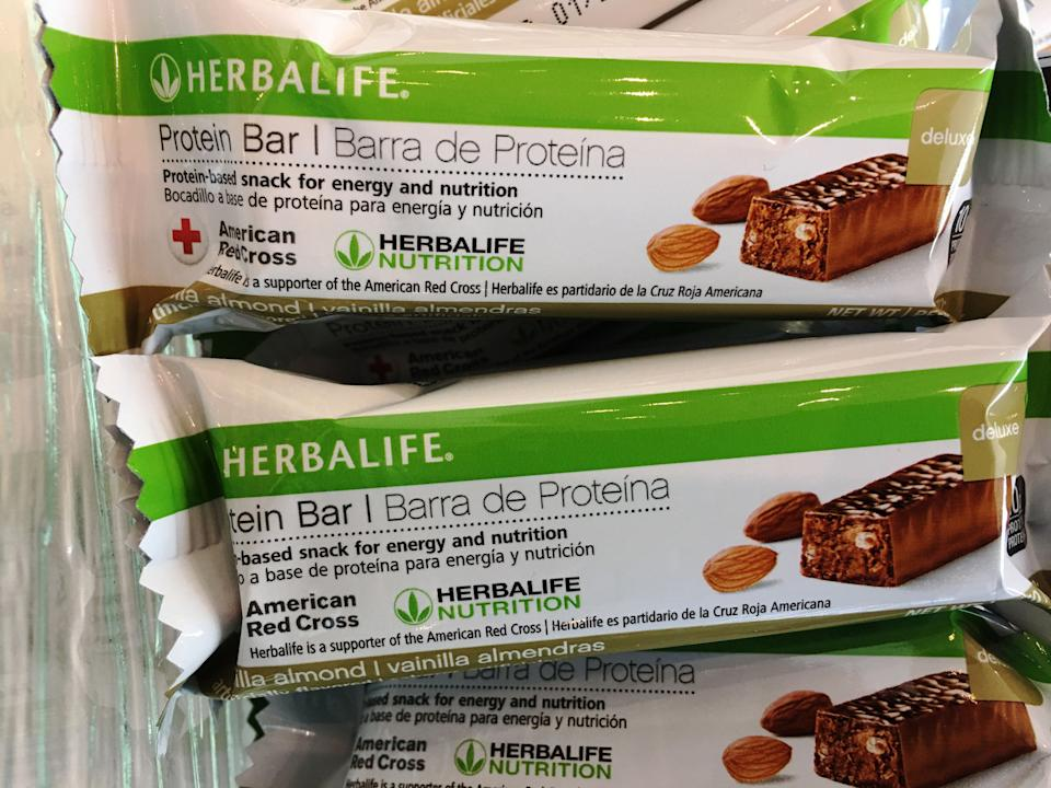Herbalife protein bars at Herbalife's corporate office in Los Angeles. (Photo: Damian Dovarganes/AP)