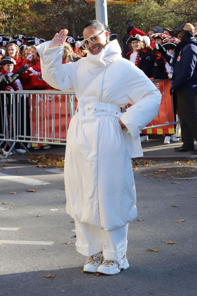<p>Reminding us why she's our go-to style muse, Tracee Ellis Ross attended the Macy's Thanksgiving Parade in a super puffer jacket and 80s-inspired sunnies. Also, how on trend are her hiking boots? Tracee, we heart you. <em>[Photo: Getty]</em> </p>
