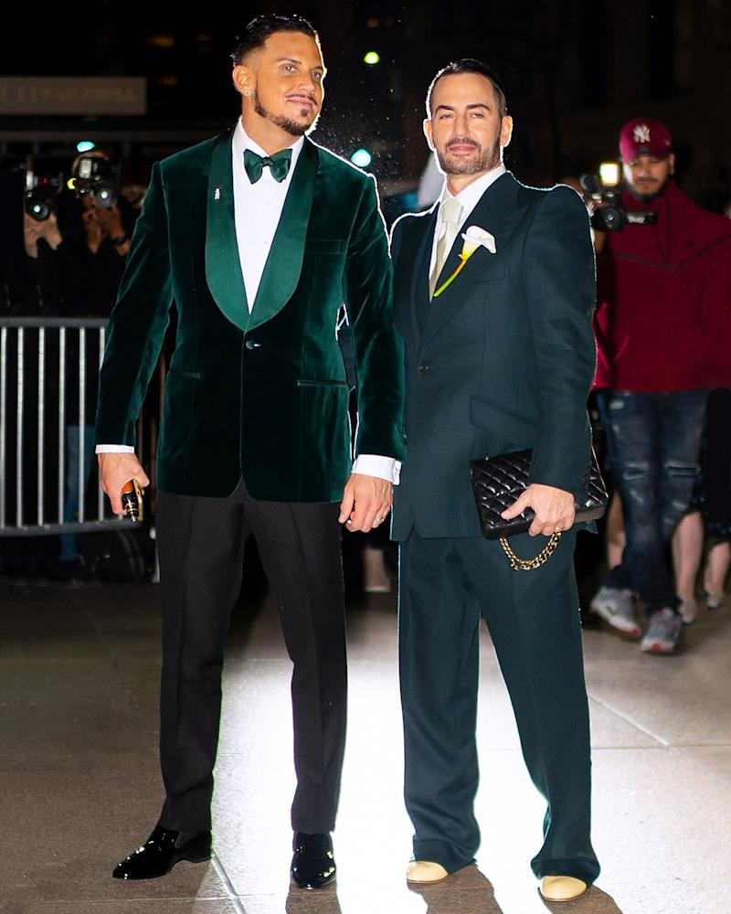 A gigantic fashion-world wedding demands two spectacular fits, as seen here on newlyweds Marc Jacobs and Char Defrancesco.