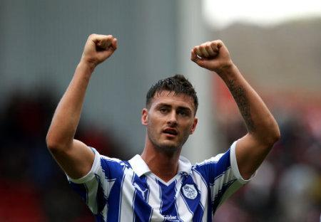 Sheffield Wednesday's goalscorer Gary Madine celebrates at the end of the match after securing a draw