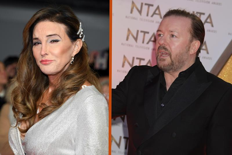 Caitlyn Jenner and Ricky Gervais met at the NTAs last night (Credit: PA)
