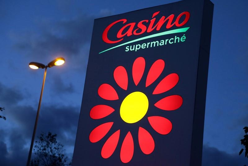 FILE PHOTO: The logo of Casino supermarket is pictured in Cannes