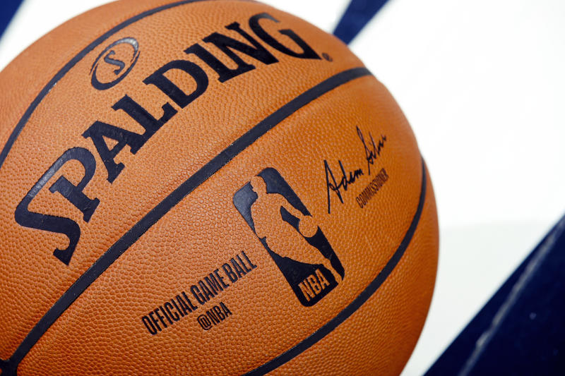 INDIANAPOLIS, IN - OCTOBER 11: A detail view of official Spalding NBA logo basketball on the floor during a preseason game between the Chicago Bulls and Indiana Pacers at Bankers Life Fieldhouse on October 11, 2019 in Indianapolis, Indiana. The Pacers defeated the Bulls 105-87. NOTE TO USER: User expressly acknowledges and agrees that, by downloading and or using this Photograph, user is consenting to the terms and conditions of the Getty Images License Agreement. (Photo by Joe Robbins/Getty Images)