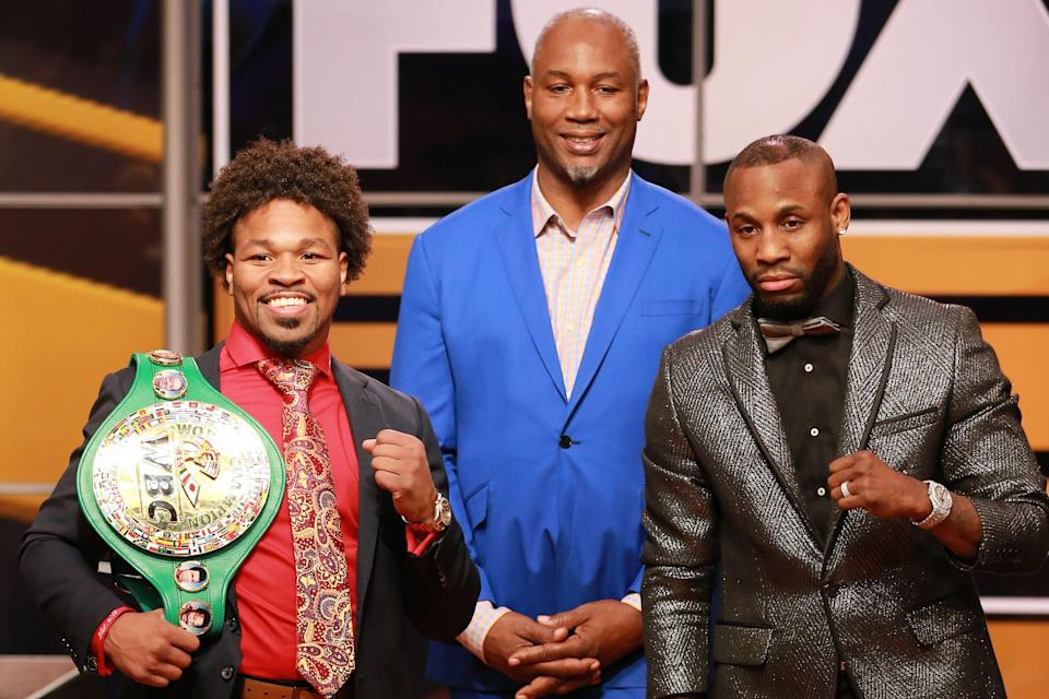 LOS ANGELES, CALIFORNIA - NOVEMBER 13: (L-R) Shawn Porter, Lennox Lewis and Yordenis Ugás attend FOX Sports and Premier Boxing Champions Press Conference Experience on November 13, 2018 in Los Angeles, California. (Photo by Leon Bennett/Getty Images)