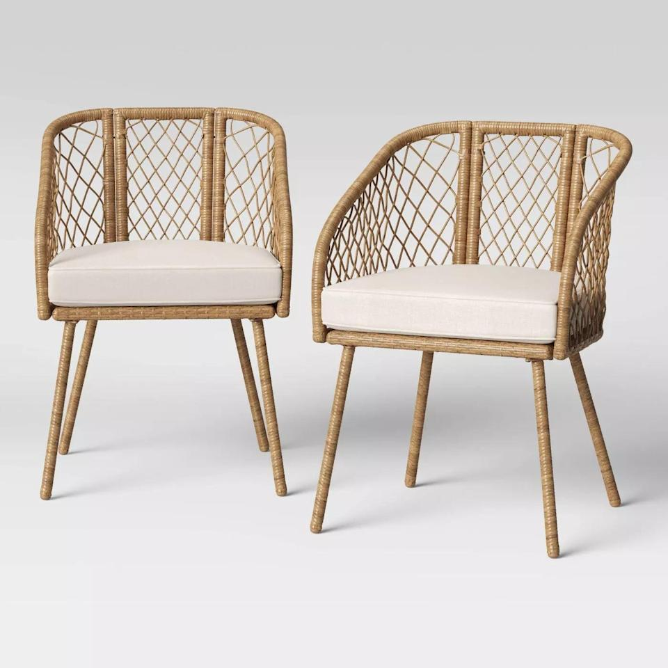 <p>The barrel shape of the <span>Ayden Barrel Patio Dining Chair</span> ($250) will make you feel nice and secure.</p>
