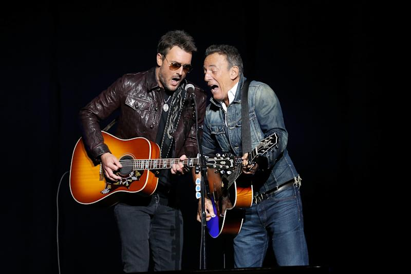 Eric Church and Bruce Springsteen performed together at the event.  (Brian Ach via Getty Images)