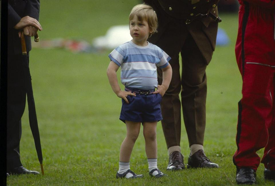 <p>Prince William was a prolific shorts wearer in the '80s. Here's the young royal strutting around the grounds of Kensington Palace. </p>