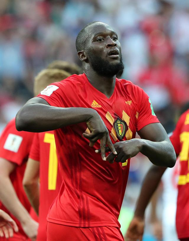 Soccer Football - World Cup - Group G - Belgium vs Panama - Fisht Stadium, Sochi, Russia - June 18, 2018 Belgium's Romelu Lukaku celebrates scoring their second goal REUTERS/Marcos Brindicci