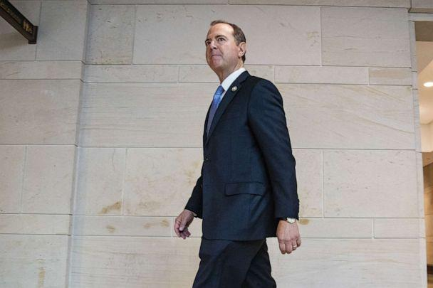 PHOTO: House Intelligence Committee Chairman Adam Schiff arrives at the Capitol before the committee meeting with Acting Director of National Intelligence Joseph Maguire on September 19, 2019, in Washington, D.C. (Samuel Corum/Getty Images)
