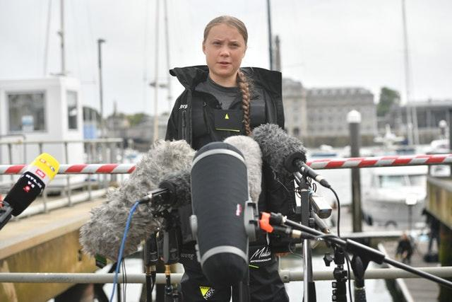 Climate activist Greta Thunberg addresses a press conference in Plymouth (Ben Birchall/PA).