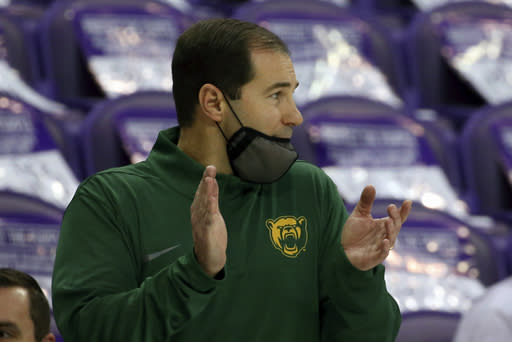 Baylor head coach Scott Drew reacts from the sideline during an NCAA college basketball game against TCU, Saturday, Jan. 9, 2021, in Fort Worth, Texas. (AP Photo/ Richard W. Rodriguez)