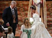 <p>Joining Princess Charlotte as bridesmaids were Zara Tindall's daughter Mia, Autumn Phillips' daughters Savannah and Isla, Lord Frederick Windsor's daughter Maud, and Robbie Williams' daughter Theodora 'Teddy' Rose. Photo: Getty </p>