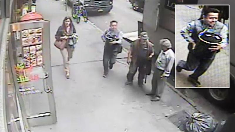 He was caught on CCTV fleeing through the streets of New York. Photo: NYPD
