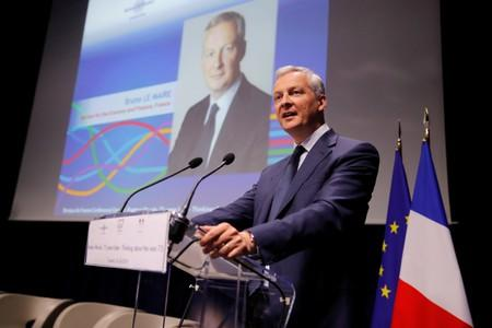 "French Finance Minister Bruno Le Maire delivers a speech during a conference entitled ""Bretton Woods: 75 years later"" in Paris"