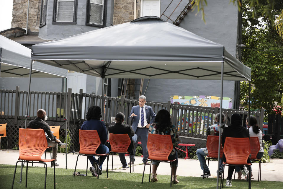 Philadelphia District Attorney candidate Carlos Vega speaks during a meet and greet event at Read Ready Daycare and Early Learning Academy in Philadelphia, on Sunday, May 16, 2021. Vega is challenging incumbent District Attorney Larry Krasner and both candidates are making a final push for votes before the election on May 18. (Elizabeth Robertson/The Philadelphia Inquirer via AP)