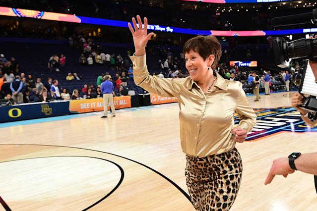Muffet McGraw is grateful that her husband, Matt, left his job in 1987 to allow her to take the head coaching job at Notre Dame. (Getty Images)