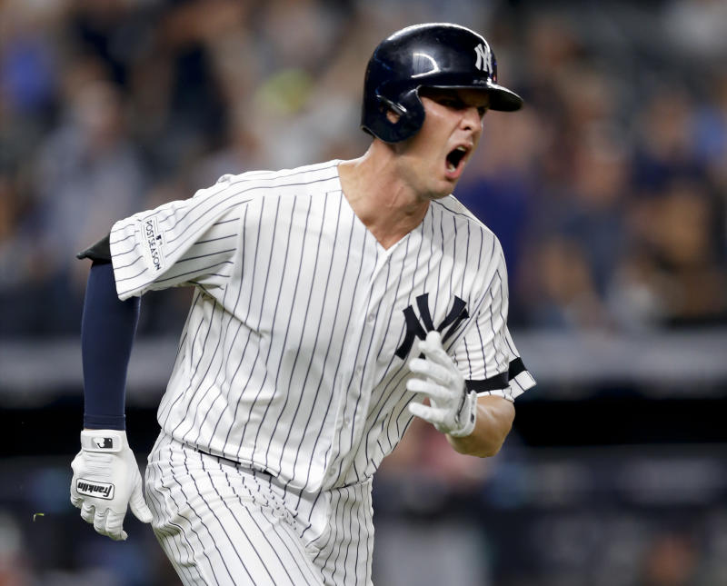 Greg Bird reacts to his seven-inning go-ahead homer in ALDS Game 3. (AP)