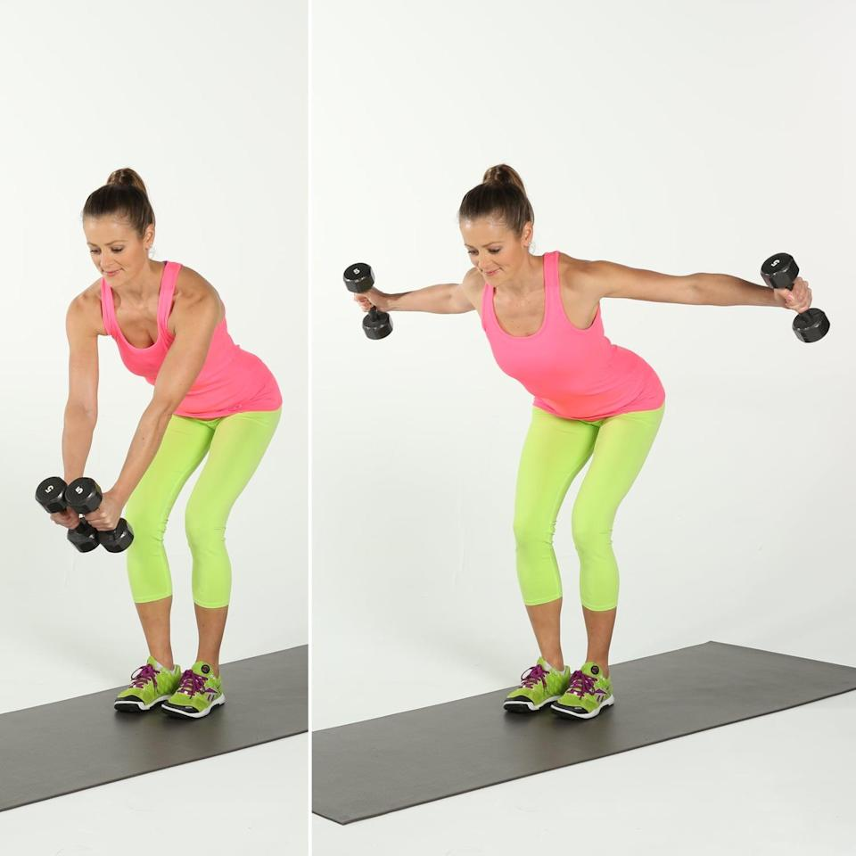 <ul> <li>Holding a dumbbell in each hand, stand with your knees slightly bent. Keeping your back flat, bend forward at the hip joint. </li> <li>Exhale and lift both arms to the side, maintaining a slight bend in the elbows and squeezing your shoulder blades together. Then, with control, lower the dumbbells back toward the ground. </li> <li>This completes one rep.</li> </ul>