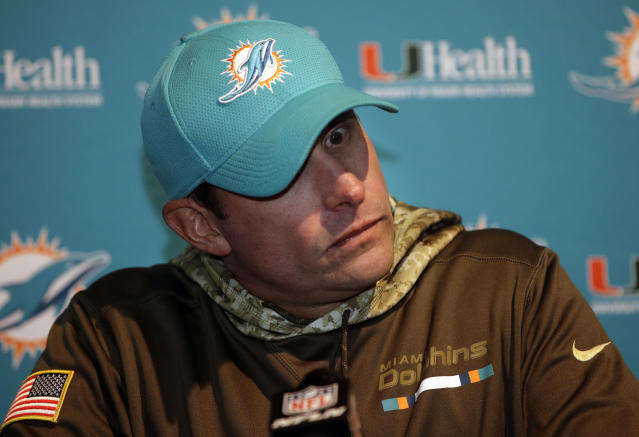 Miami Dolphins head coach Adam Gase couldn't get his team back to the playoffs in 2017. (AP)