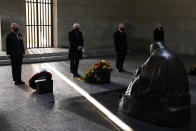 Britain's Prince Charles, Prince of Wales, German President Frank-Walter Steinmeier, President of the German Federal Council Reiner Haseloff and head judge of Germany's constitutional court Stephan Harbarth, from left, pay their respect during a wreath laying ceremony on national Memorial Day at the Neue Wache in Berlin, on Nov. 15, 2020. The royals are in the German capital for a wreath laying ceremony on national Memorial Day at Neue Wache and a visit to parliament on November 15, 2020. ( Odd Andersen / Pool via AP)