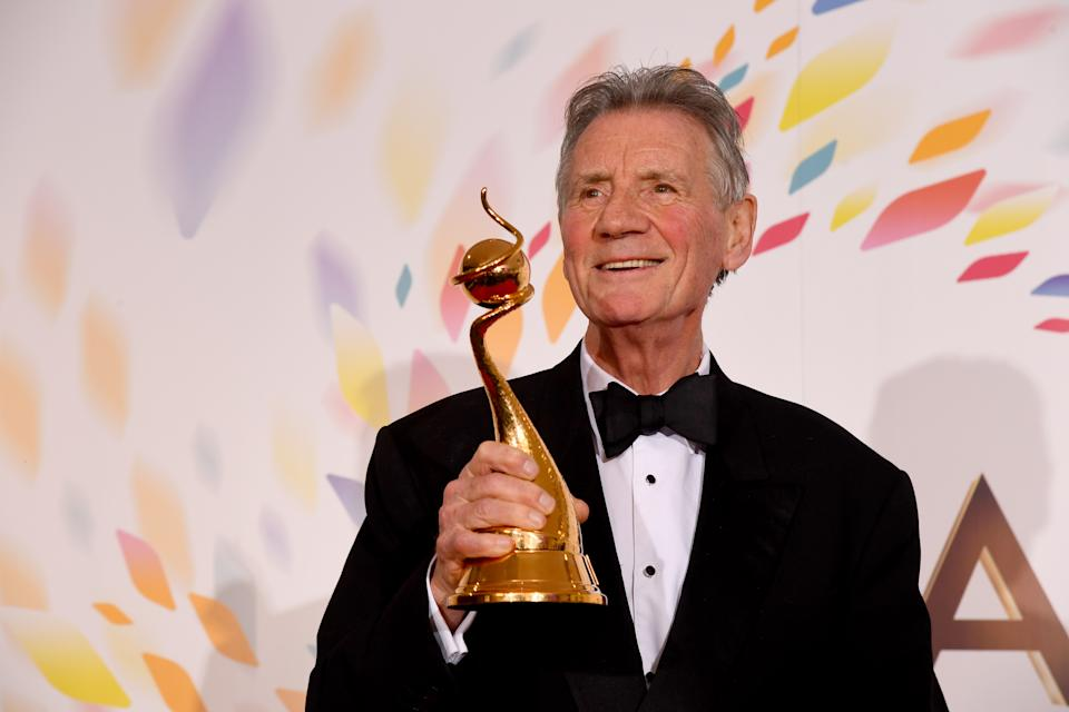 LONDON, ENGLAND - JANUARY 28: Michael Palin wins the Special Recognition Award at the National Television Awards 2020 at The O2 Arena on January 28, 2020 in London, England. (Photo by Dave J Hogan/Getty Images)