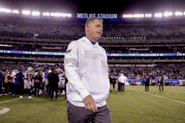 New York Giants head coach Pat Shurmur walks off the field after the Giants lost 37-18 to the Dallas Cowboys in an NFL football game, Monday, Nov. 4, 2019, in East Rutherford, N.J. (AP Photo/Adam Hunger)