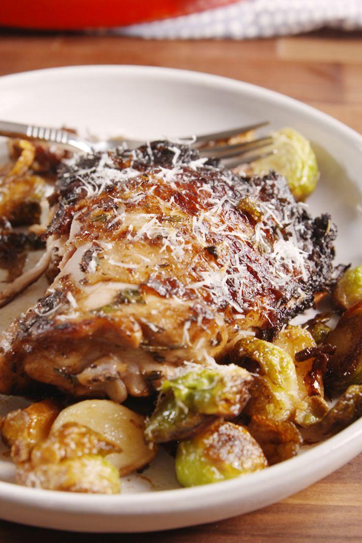 """<p>Everything is crisp in the fall—chicken included.</p><p>Get the recipe from <a href=""""https://delish.com/cooking/recipe-ideas/recipes/a49786/crispy-balsamic-chicken-recipe/"""" rel=""""nofollow noopener"""" target=""""_blank"""" data-ylk=""""slk:Delish"""" class=""""link rapid-noclick-resp"""">Delish</a>.</p><p><a class=""""link rapid-noclick-resp"""" href=""""https://go.redirectingat.com?id=74968X1596630&url=http%3A%2F%2Fwww.booksamillion.com%2Fp%2FDelish%2FEditors-Delish%2F9781328498861%3FAID%3D12534396%26PID%3D7689440%26SID%3D74968X1525073X07114470a15c82bcb4ffeca778302366&sref=https%3A%2F%2Fwww.delish.com%2Fcooking%2Fmenus%2Fg1467%2Fone-skillet-dinners%2F"""" rel=""""nofollow noopener"""" target=""""_blank"""" data-ylk=""""slk:BUY NOW"""">BUY NOW</a><strong><em> Delish Cookbook, booksamillion.com</em></strong></p>"""