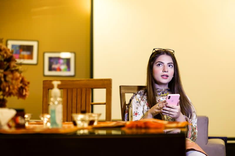 Dananeer Mobeen, a social media influencer who has become famous after her five-second video went viral, speaks during an interview with Reuters, in Karachi, Pakistan