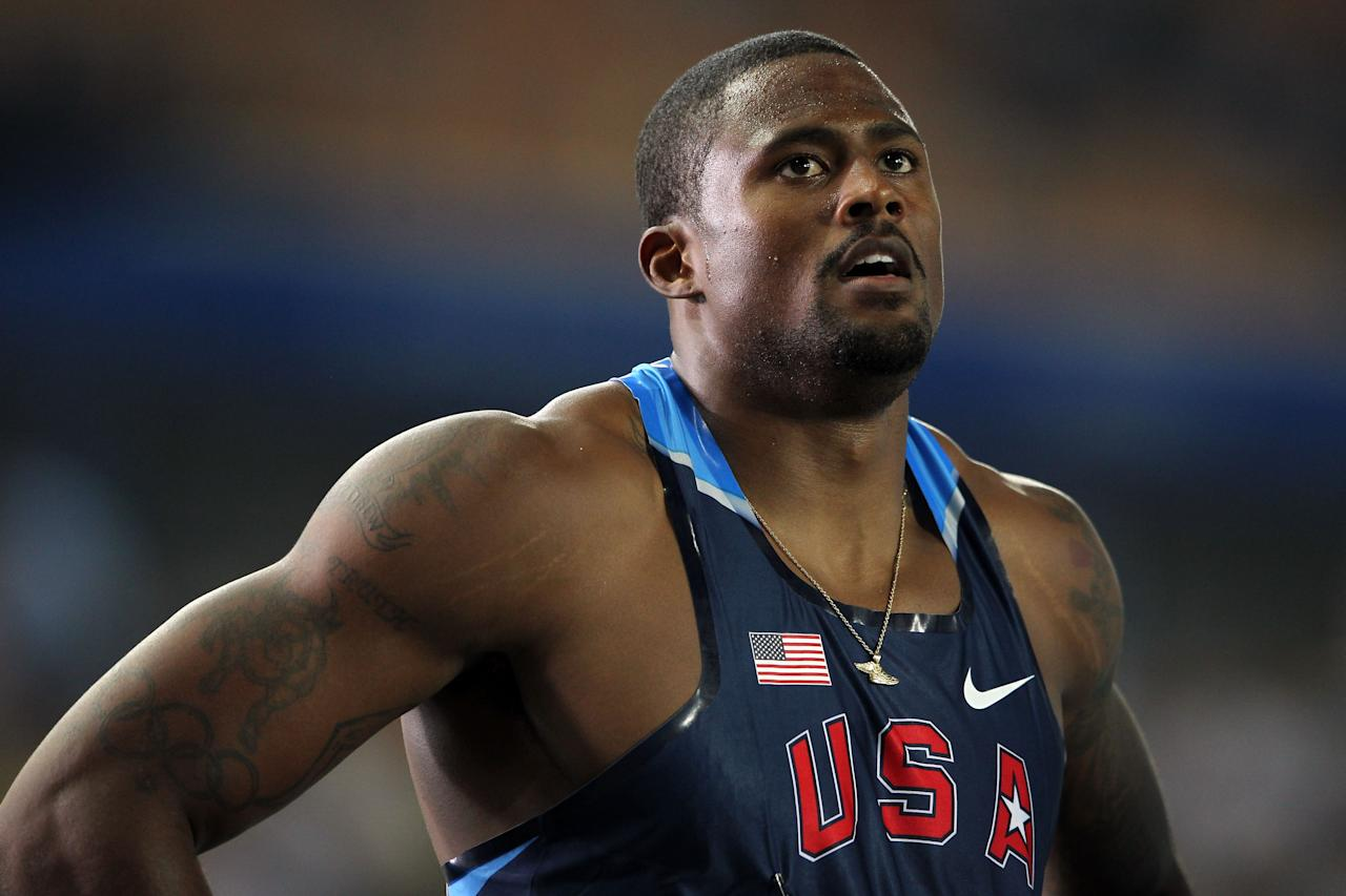 DAEGU, SOUTH KOREA - AUGUST 29:  David Oliver of United States looks on after competing in the men's 110 metres hurdles semi finals during day three of the 13th IAAF World Athletics Championships at the Daegu Stadium on August 29, 2011 in Daegu, South Korea.  (Photo by Andy Lyons/Getty Images)