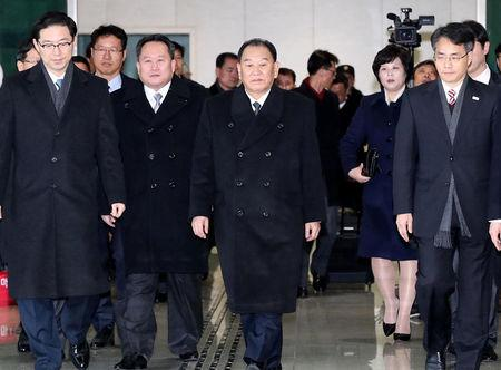 Vice chairman of the North Korean ruling party's central committee Kim Yong Chol arrives at the South's CIQ (Costoms, Immigration and Quarntine) just south of the demilitarized zone in Paju, South Korea, February 25, 2018.    Yonhap via REUTERS