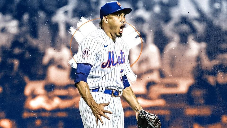 Edwin Diaz screams after save against Yankees September 2021 TREATED ART
