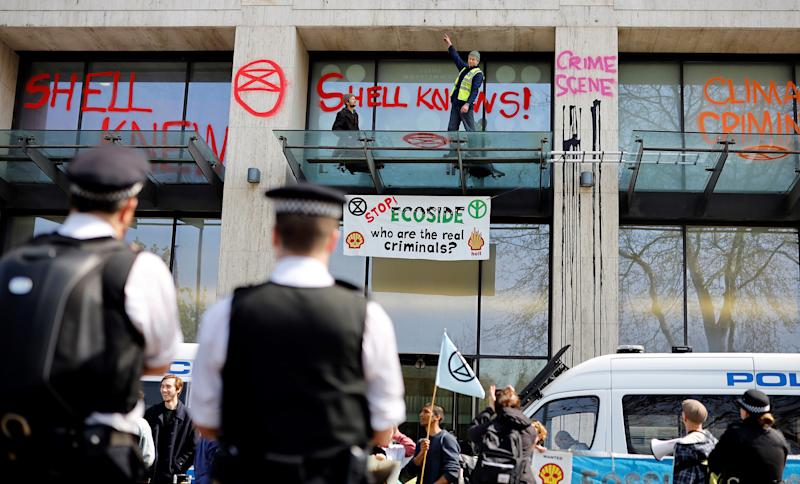 Extinction Rebellion protests outside Shell's London office in April 2019 | Tolga Akmen—AFP/Getty Images