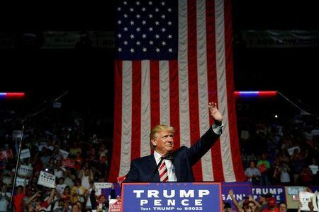 Trump holds a rally with supporters in Roanoke, Virginia, U.S.