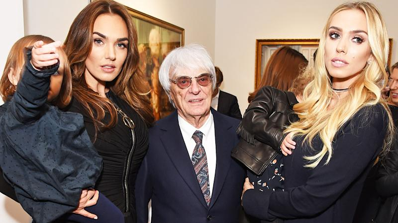 Bernie Ecclestone, pictured here with daughters Tamara and Petra in 2016.