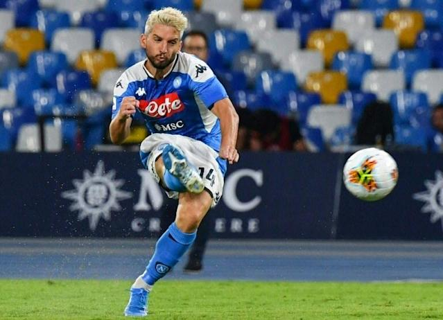 Newly-blonde Belgian forward Dries Mertens scored a double for Napoli. (AFP Photo/Andreas SOLARO)