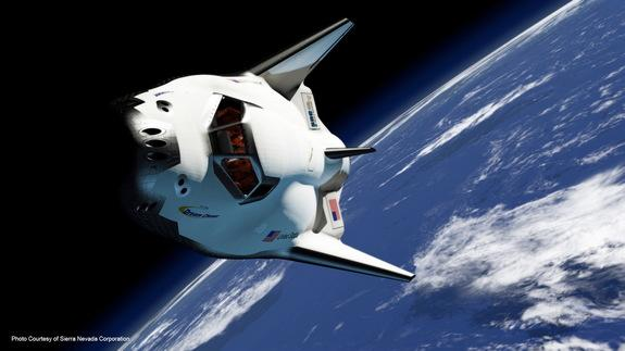Artist's rendering of the private Dream Chaser space plane built by Sierra Nevada Corp. in orbit.