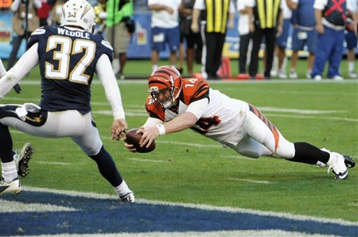 Cincinnati Bengals quarterback Andy Dalton, right, dives into the end zone for a touchdown against the San Diego Chargers during the second half of an NFL football game, Sunday, Dec. 2, 2012, in San Diego. (AP Photo/Denis Poroy)