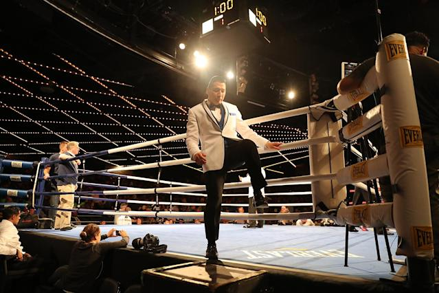 <p>NYPD Boxing organizer Dave Siev exits ring during the NYPD Boxing Championships at the Theater at Madison Square Garden on June 8, 2017. (Photo: Gordon Donovan/Yahoo News) </p>