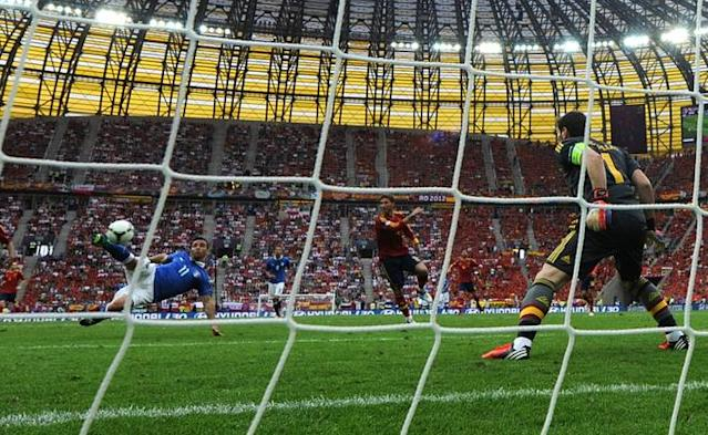 Italian forward Antonio Di Natale kicks the ball as he faces Spanish goalkeeper Iker Casillas during the Euro 2012 championships football match Spain vs Italy on June 10, 2012 at the Gdansk Arena. AFP PHOTO/ CHRISTOF STACHECHRISTOF STACHE/AFP/GettyImages