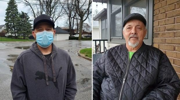 Mark Piche, left, and Bob Labute, right, are both residents of Tecumseh, Ont. Piche is opposed to the project and Labute supports it. (Tahmina Aziz/CBC - image credit)