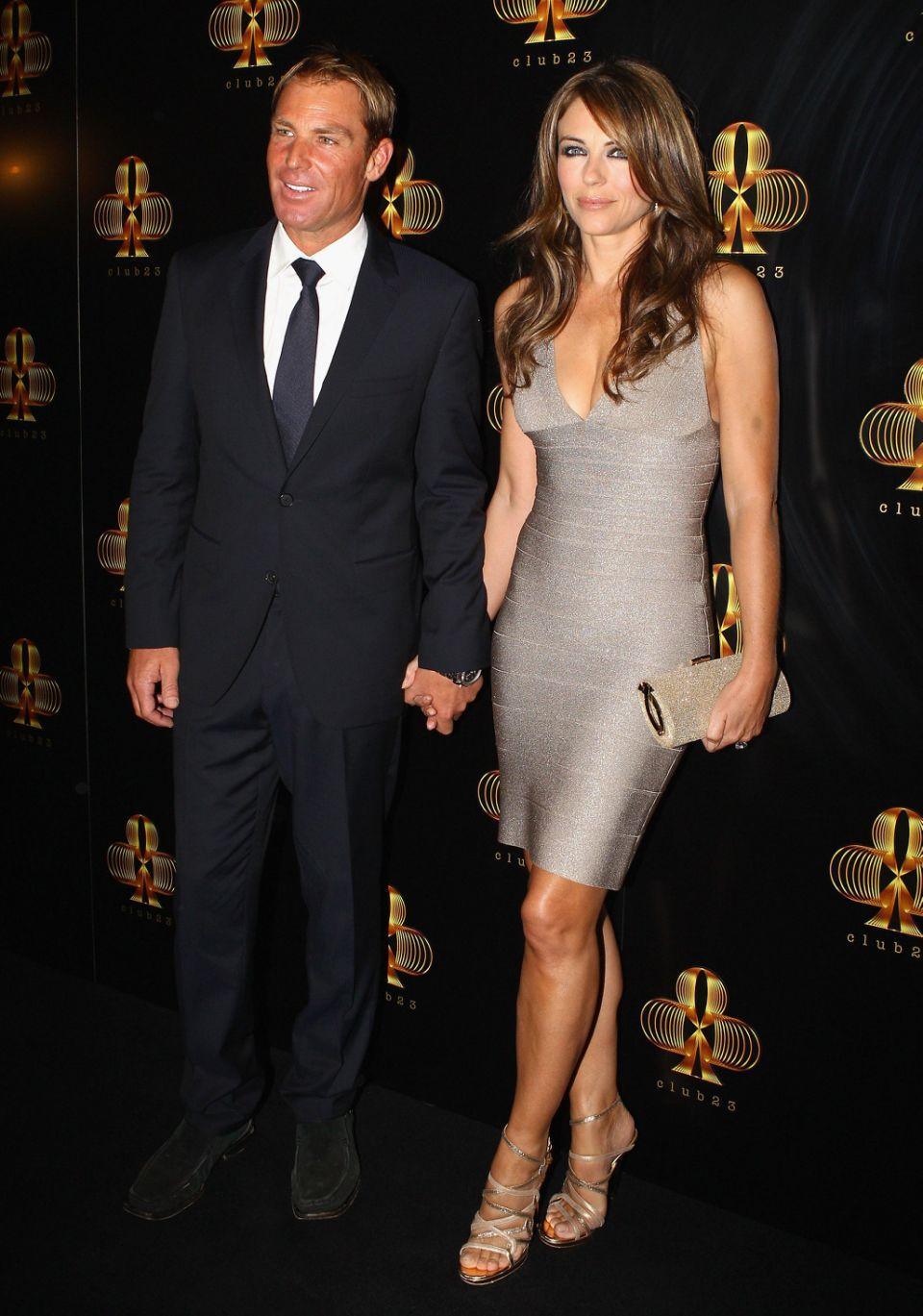 Shane looking noticeably slimmer while in a relationship with Liz Hurley from 2011 to 2013. Source: Getty