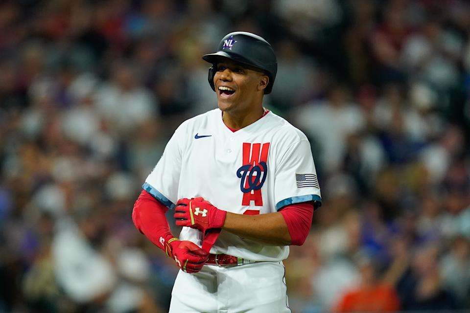 DENVER, COLORADO - JULY 13: National League All-Star Juan Soto #22 of the Washington Nationals reacts during the 91st MLB All-Star Game presented by Mastercard at Coors Field on July 13, 2021 in Denver, Colorado. The American League team won 5-2. (Photo by Matt Dirksen/Colorado Rockies/Getty Images)