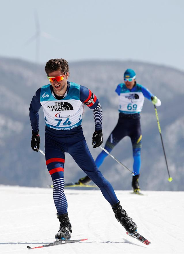 Biathlon - Pyeongchang 2018 Winter Paralympics - Men's 12.5km - Standing - Alpensia Biathlon Centre - Pyeongchang, South Korea - March 13, 2018 - Benjamin Daviet (74) of France. REUTERS/Carl Recine