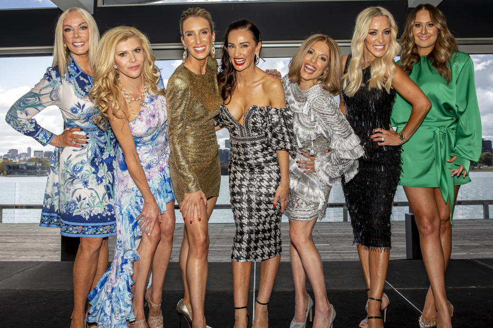 Janet Roach, Gamble Breaux Cherry Dipietrantonio , Kyla Kirkpatrick, Anjali Rao, Simone Elliott,  Jackie Gillies and  attends the cast announcement for The Real Housewives of Melbourne season 5 on April 14, 2021 in Melbourne, Australia. (Photo by Sam Tabone/WireImage)