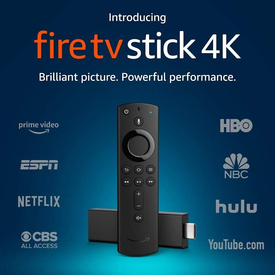 <p>They can plug this <span>Fire TV Stick 4K With All-New Alexa Voice Remote</span> ($30, originally $50) into any TV set and watch all their favorite shows. It's that easy!</p>